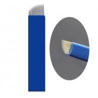 """Иглы для микроблейдинга плоские №17 """"синие"""" пайка диагональ"""