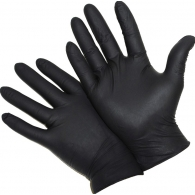 Перчатки текстурированные черные для пирсинга и тату, пара