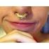 Серьга-фейк для септума биж. сплав Восторг золото камни SEPRG / 9 мм фото пирсинг 7