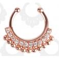 Серьга-фейк для септума биж. сплав Элит золото розовое с камнями DCQ01RG / 8 мм