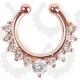 Серьга-фейк для септума биж. сплав Роскошь золото розовое с камнями DCZ01GR / 8 мм