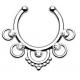 Серьга-фейк для септума биж. сплав Фантазия  серебро с камнями BBW3 /  9 мм