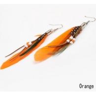 Серьги перья классика бусины оранж, пара