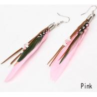 Серьги перья классика бусины розовые, пара