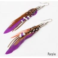 Серьги перья классика бусины фиолетовые, пара