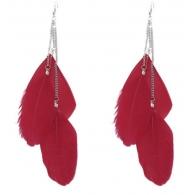 Серьги перья цепочки три листика красный, пара
